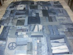 Recycled Blue Jean Quilt by jeanoligy on Etsy, $180.00