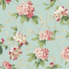 Blue and Pink Rhododendron Floral Wallpaper