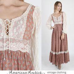 vtg 70s Gunne Sax Dress Sheer Floral Lace Corset Boho Wedding Cocktail Maxi XS S #GunneSax #EmpireWaist #Formal
