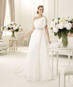 Beautiful one shoulder wedding dress by Pronovias