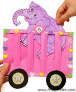 Circus Train craft  or try cutting slots instead of two-layer train, and practice weaving animal through. or maybe too difficult because of animal bits and pieces.