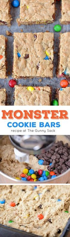 Monster Cookie Bars are so much easier to make than cookies! This recipe includes all your favorites...oatmeal, peanut butter, M&M's and chocolate chips.