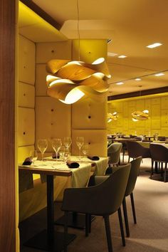 LZF Lamps in Element Restaurant in Ljubljana, Slovenia. #WoodLighting #WoodLamps #WoodVeneer