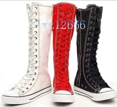 Hot PUNK Women Canvas Boots Sneaker Girl's Shoes Knee High Lace UP Boots in Clothing, Shoes & Accessories, Women's Shoes, Boots | eBay