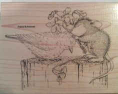 """NEW! HOUSE MOUSE Stampendous """"Birdie Kiss"""" Wood Mounted Rubber Stamp #Stampendous"""