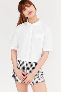 BDG Scalloped-Collar Top - Urban Outfitters