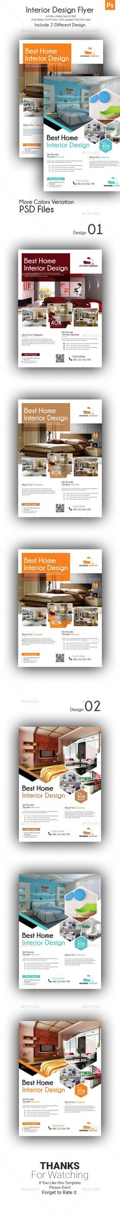 Set of Interior Design flyer template included 2 flyers with 2 design options. You can also use it in other purpose like real estate business promotion, advertising homes, property sale, marketing flyer, houses for rent or real estate listing. This modern tem #realestateadvertising