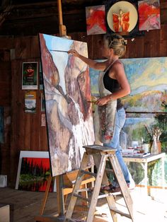 Holly Friesen working in her studio