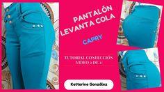 """Confección """"Pantalón"""" Capry Levanta Cola 2 de 2 Sewing Clothes, Diy Clothes, Refashion, Clothing Patterns, Underwear, Pants, Youtube, Crochet, Board"""