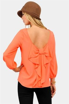Coral bow blouse. Love it!