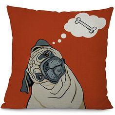 "Daydreaming Pug Cushion Cover - 45cmx45cm/18""x18"""