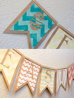 REVERSIBLE Chevron Paper Bunting Flag Banner  by JenisseDesign, $22.00