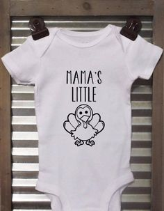 Mamas Little Turkey baby bodysuit. This onesie is perfect for Thanksgiving.  *Bodysuits are Carter's brand. Please see their sizing chart if you aren't sure what size to order. *All bodysuits are white. The color you choose is for the text/image. *If you would like a colored bodysuit, please request