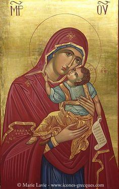 Holy Mary, Mother of Jesus Byzantine Icons, Byzantine Art, Religious Icons, Religious Art, Orthodox Prayers, Orthodox Christianity, Religion, Jesus Painting, Holy Mary
