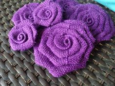 Six Purple Burlap Flowers by SimplySouthernCrafts on Etsy, $10.00