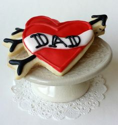 Dad Tattoo Heart Cookies - Valentine's Day - Father's Day - 6 Cookies by pfconfections on Etsy https://www.etsy.com/listing/177836657/dad-tattoo-heart-cookies-valentines-day