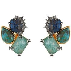 Alexis Bittar Crystal Studded Spur Trimmed Chrysocolla & Amazonite Crystal Doublet Button Clip Earrings