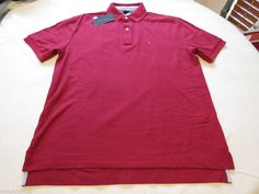 Mens Tommy Hilfiger cotton Polo shirt L large solid NEW 7845143 Cabernet 606  #TommyHilfiger #polo