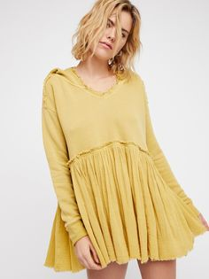 Summer Dreams Pullover | Oversized pullover featuring a lightweight gauzy bottom-half in a swingy silhouette.    * V-neckline   * Raw, unfinished trim   * Hooded style