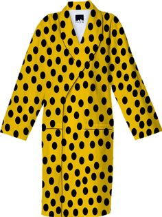 #Black #Polka #Dots #Yellow Cotton #Robe from Print All Over Me