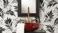 Midori White Bamboo Silhouette Wallpaper - contemporary - wallpaper - Brewster Home Fashions Bamboo Wallpaper, Bold Wallpaper, Botanical Wallpaper, Black And White Wallpaper, Painting Wallpaper, Bathroom Wallpaper, Wallpaper Samples, Leaves Wallpaper, Wallpaper Stores