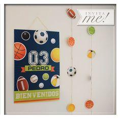 Cartel de bienvenida y guirnaldas de pelotas...hola@invita-me.com.ar