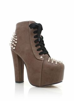 spiked contrast lace platform booties