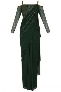 Green Cold Shoulder Drape Saree