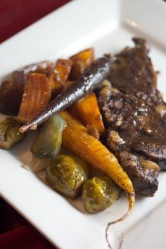 Beef Chuck Eye Steaks Roasted with Root Veggies and Red Wine