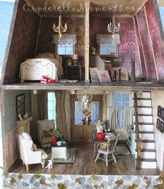 Cinderella Moments: La Maison de Campagne Custom Dollhouse (jt-exterior of this lovely French style dolls house pinned alongside)