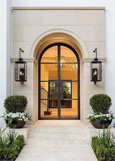 This entry is gorgeous. Love the doors! This entry is gorgeous. Love the doors! Door Design, Exterior Design, Interior And Exterior, Classic House Exterior, Exterior House Lights, Luxury Homes Exterior, French Exterior, Stone Exterior, Exterior Siding