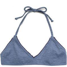 MADE BY DAWN Shell picker bikini top ($29) ❤ liked on Polyvore featuring intimates, bras, tops, underwear, lingerie, bra, blue, beachwear, halter neck bra and shell bra