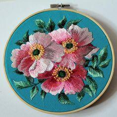 Embroidery hoop art wall decor rosehip gift for women Hand Hand Embroidery Projects, Embroidery Hoop Art, Cross Stitch Embroidery, Embroidery Patterns, Black And White Flower Tattoo, Modern Cross Stitch Patterns, Needlecrafts, Flower Art, Free Printable
