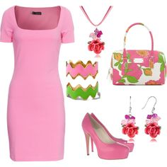 Pink Dress Set, created by juliaschloegirl on Polyvore