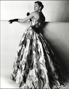 1953 Evening gown by Balmain, photo by Willy Maywald