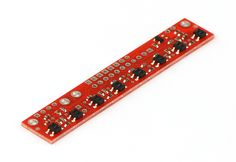 """This sensor module has 8 IR LED/phototransistor pairs mounted on a 0.375"""" pitch, making it a great detector for a line-following robot.  Pairs of LEDs are arranged in series to halve current consumption, and a MOSFET allows the LEDs to be turned off for additional sensing or power-savings options.  Each sensor provides a separate digital I/O-measurable output."""