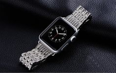 Tired of the same look each day? Just get the diamond band for apple watch to made you stand out. - W4 Diamond Bezel Stainless Steel Band, Perfect for 38mm or 42mm of Apple Watch Sport, Apple Watch, A