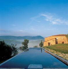 The spectacular infinity pool at Hotel Castello di Casole in Tuscany, Italy