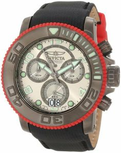 Invicta Men's 10715 Sea Hunter Pro Diver Chronograph Silver Grey Dial Black Nylon Watch Invicta. $209.99. Flame-fusion crystal; brushed gunmetal stainless steel case; black nylon strap with red accessory. Water-resistant to 300 M (984 feet). Silver grey dial with black hands; silver tone hour markers and arabic numerals; luminous; unidirectional red rubber bezel with gunmetal ring; screw-down crown and pushers; exhibition case back. Chronograph functions with 60 second, 30 minut...