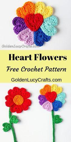 Crochet Flowers, Heart Flowers, Free Crochet Pattern, crochet flowers pattern free, #crochetflowers, crochet hearts, heart-shaped crochet, #flowerscrochet, crochet flowers free pattern easy