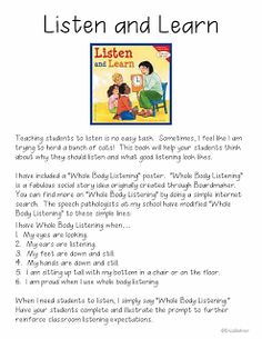Back to School Activities - Free Sample and Whole Body Listening Download!