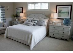 Window Above Bed Design, Pictures, Remodel, Decor and Ideas Basement Bedrooms, Home Bedroom, Bedroom Furniture, Master Bedroom, Master Suite, Bedroom Photos, Girls Bedroom, Painted Furniture, Budget Bedroom