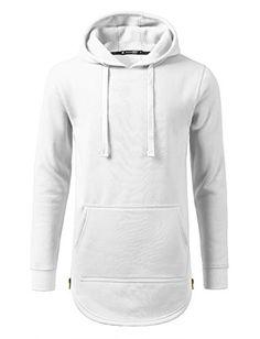 URBANCREWS Mens Hipster Hip Hop Pullover Fleece Hoodie Sweatshirt White XLarge