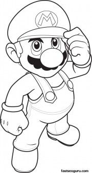 Print out Coloring pages Mario Coloring sheet  for kids.fargelegge tegninger av.
