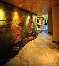 Textured walls:  Rock and Water, motion, backlight