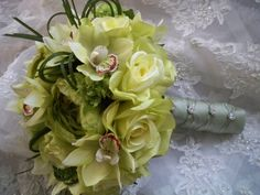 Green Realtouch Cymbidium Orchid Bridal Bouquet by modagefloral, $180.00