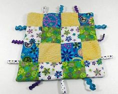 Blue Purple Peace Sign Ric Rac Minky Dot Baby Lovey & Security Blanket B240