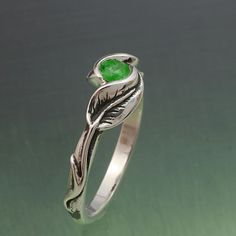 DELICATE LEAF RING, Your Choice of Stone. Ring in sterling silver. $190.00, via Etsy.