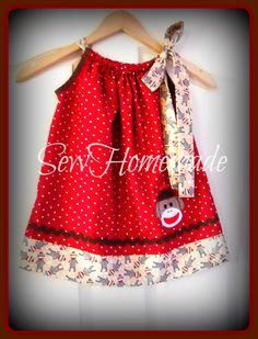 Sock Monkey Pillowcase Dress   Sock Monkey Dress  by soohomemade, $25.00