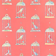 Tweety Wallpaper in Pink from the Serendipity Collection.  Fun powder bath wallpaper.